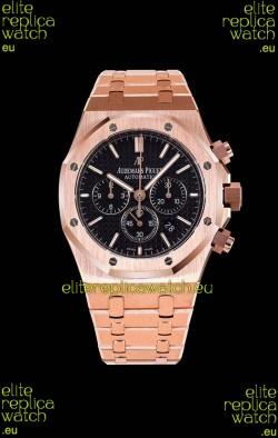 Audemars Piguet Royal Oak Chronograph Pink Gold Case Black Dial - 1:1 Mirror Replica