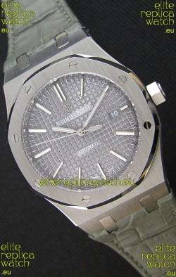 Audemars Piguet Royal Oak 41MM Grey Dial Leather Strap - 1:1 Mirror Ultimate Edition
