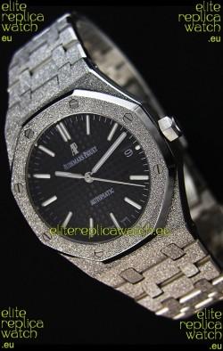 Audemars Piguet Royal Oak Frosted Self-Winding White Gold Black Dial 1:1 Mirror Replica Watch