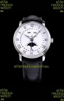 "Blancpain ""Villeret Quantième Complet"" 904L Steel Swiss Watch in White Dial"
