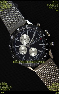 Breitling Chronoliner Steel-Black Mesh Strap in Black Dial Swiss Replica Watch
