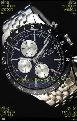 Breitling Chronoliner Steel-Black Steel Strap in Black Dial Swiss Replica Watch