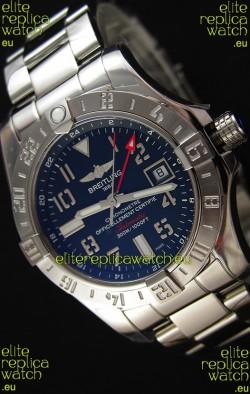 Breitling Avenger II GMT Swiss Replica Watch in Black Dial Steel Strap 1:1 Mirror Replica Version