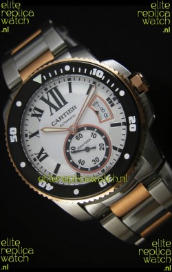 Calibre De Cartier Watch 42MM Black Dial Two Tone Case White Dial - 1:1 Mirror Replica Watch
