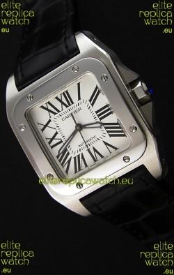 Cartier Santos De Cartier 1:1 Mirror Replica Black Strap 33MM Ladies Watch