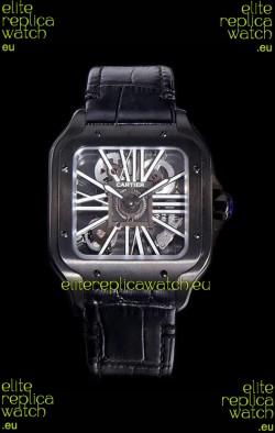 Cartier Santos DUMONT Skeleton Watch in Black DLC Coated Casing Swiss Movement Watch