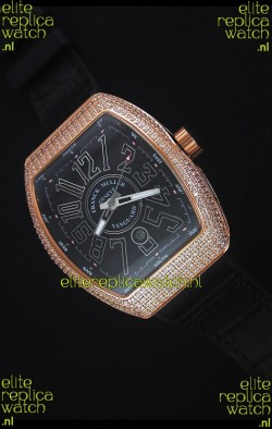 Franck Muller Vanguard Gold Swiss Replica Watch in Black Dial