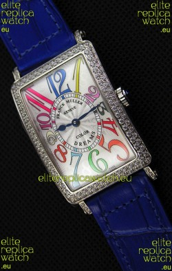 Franck Muller Long Island Color Dreams Ladies Swiss Replica Watch - Blue Strap