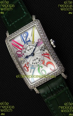 Franck Muller Long Island Color Dreams Ladies Swiss Replica Watch - Green Strap