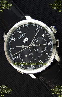 Glashuette Dual Sub Dial Japanese Replica Watch in Black Dial