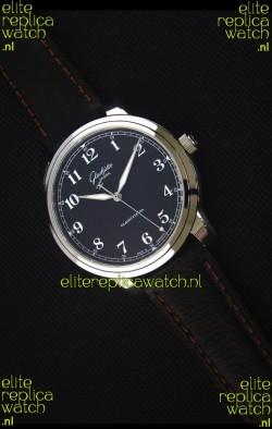 Glashuette Senator Excellence Black Dial Steel Case Swiss Replica Watch