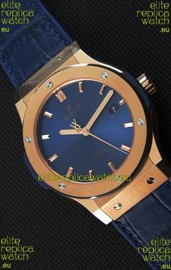 Hublot Classic Fusion Blue King Gold Swiss Replica Watch - 1:1 Mirror Replica