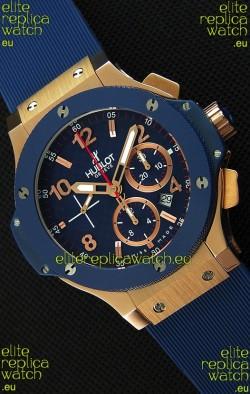 Hublot Big Bang Blue Pink Gold Case Swiss Replica Watch 1:1 Mirror Replica