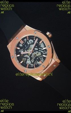 Hublot Classic Fusion Skeleton Rose Gold Case Japanese Movement