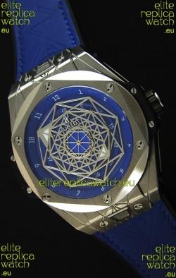 Hublot Big Bang Sang Bleu 45MM Stainless Steel Blue Dial  Swiss Replica Watch
