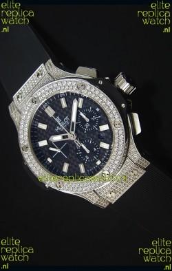 Hublot Big Bang Carbon Dial Diamonds Studded Stainless Steel Swiss Watch