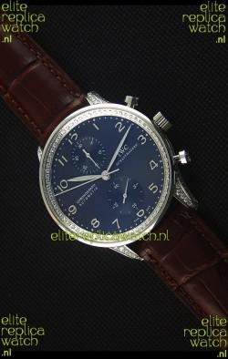 IWC Portuguese Chronograph Black Dial Brown Strap with Diamonds 1:1 Mirror Replica Watch