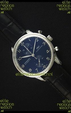 IWC Portuguese Chronograph Black Dial/Strap with Diamonds 1:1 Mirror Replica Watch