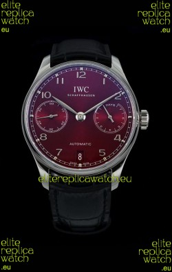 IWC Portugieser Swiss IW500714 1:1 Mirror 904L Steel Watch Burgundy Dial Watch