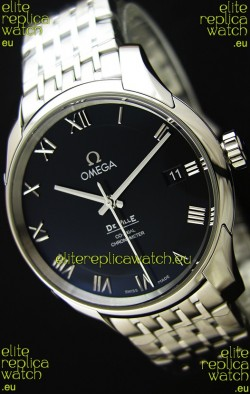 Omega De-Ville Annual Calendar Steel Strap Swiss Replica Watch 1:1 Mirror Edition in Black Dial
