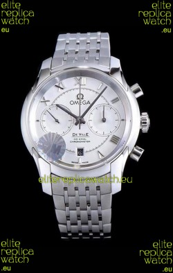 Omega De Ville Chronograph 1:1 Mirror Replica Watch in White Dial 42MM