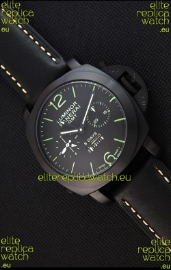 Panerai Luminor GMT 8 Days Power Reserve Japanese Replica PVD Case Watch