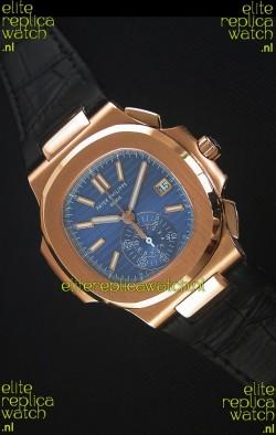 Patek Philippe Nautilus 5980 Chronograph Rose Gold in Blue Dial - 1:1 Mirror Replica