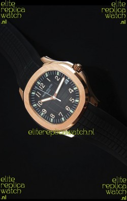 Patek Philippe Aquanaut Jumbo Rose Gold 1:1 Mirror Replica Watch - Black Colored Dial