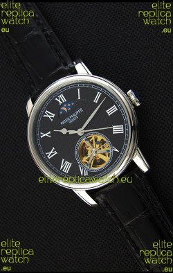 Patek Philippe Japanese MoonPhase Tourbillon Replica Watch Black Dial