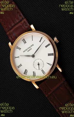 Patek Philippe Calatrava Japanese Mens Watch in Yellow Gold Case Brown Strap
