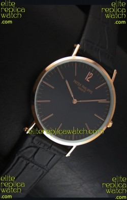 Patek Philippe Calatrava Ulta-Thin Swiss Quartz Watch Rose Gold Case