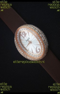 Piaget Limelight Magic Hour Swiss Quartz Watch Rose Gold in Brown Strap