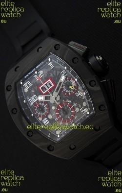 Richard Mille RM011-FM Felipe Massa One Piece Black Forged Carbon Case Watch in Black Strap
