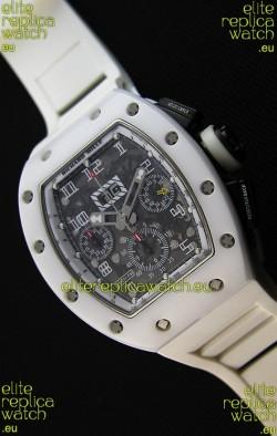 Richard Mille RM011-FM Felipe Massa White Ceramic Case Watch in White Strap