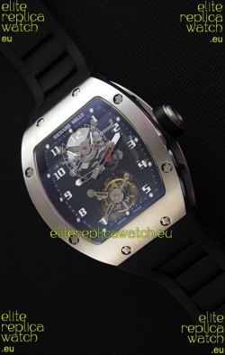 Richard Mille RM001 Evolution Tourbillon Swiss Replica Watch with Brushed Steel Case