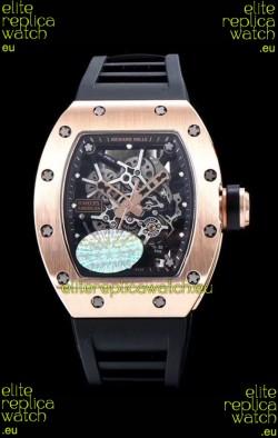 Richard Mille RM035 AMERICAS 18K Rose Gold Replica Watch in Black Strap