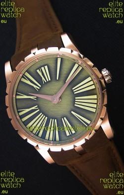 Roger Dubuis Excalibur Steel Case Green Dial Swiss Replica Watch