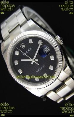 Rolex Datejust 36MM Cal.3135 Movement Swiss Replica Watch in Black Printed Dial