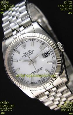 Rolex Datejust 36MM Cal.3135 Movement Swiss Replica White Dial Jubilee Strap - Ultimate 904L Steel Watch