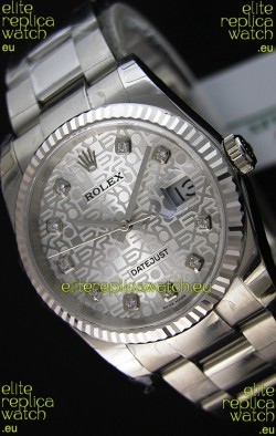 Rolex Datejust 36MM Cal.3135 Movement Swiss Replica Watch in Steel White Steel Dial