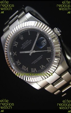 Rolex Datejust II 41MM with Cal.3136 Movement Swiss Replica Watch in Black Dial Roman Numerals