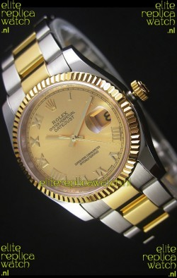 Rolex Datejust Replica Watch Gold Roman Dial in 36MM with 3135 Swiss Movement