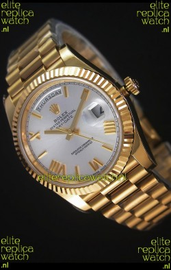 Rolex Day-Date 40MM Replica Watch in Silver dial with Roman Hour Numerals Cal.3255 Swiss Movement