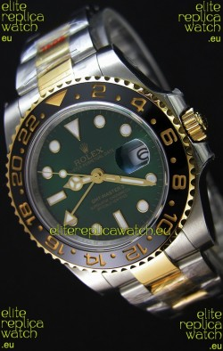 Rolex GMT Masters II Two Tone Yellow Gold Watch with Green Dial
