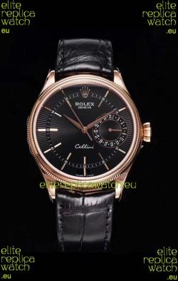 Rolex Cellini Date Ref#50515 Replica 1:1 Mirror Rose Gold 904L Steel Watch Brown Dial