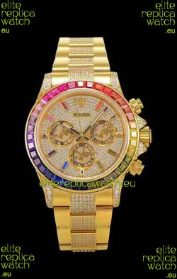 Rolex Daytona ICED OUT Yellow Gold Watch Original Cal.4130 Movement - 1:1 Mirror 904L Steel Watch