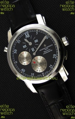 Vacheron Constantin Malte Dual Time Regulator Black Dial Replica Watch
