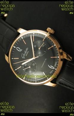 Glashuette Senator Japanese Replica Watch in 18K Pink Gold Case