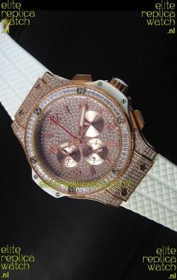 Hublot Big Bang Rose Gold Watch Quartz Movement in White Strap