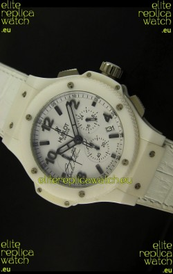 Hublot Big Bang White Ceramic Case Watch in Quartz Movement